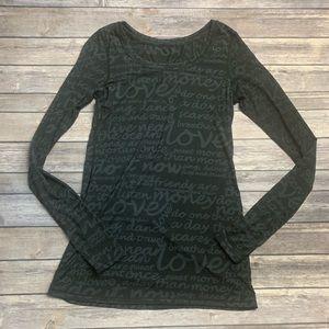 Lululemon Love Black Graphic Long Sleeve Top